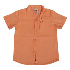Ice Boys - Solid Orange Cotton Half Sleeve Closed Collar Shirts