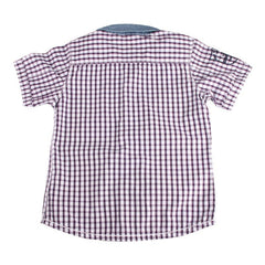 Einstein - Purple And White Checked Cotton Half Sleeve Shirts