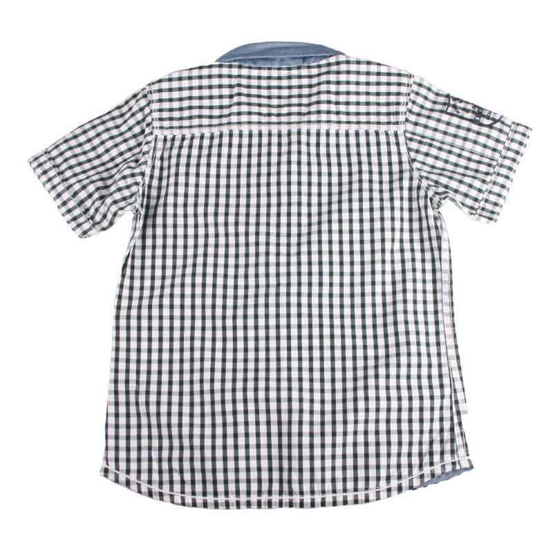 Einstein - Dark Green And White Checked Cotton Half Sleeve Shirts