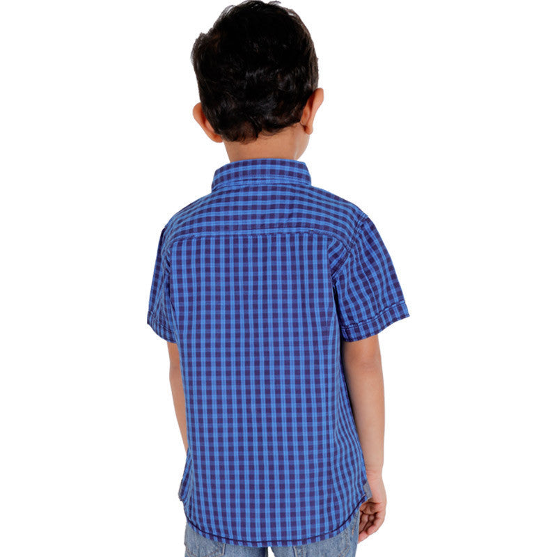 Biker Boys - Robin Blue Double Checked Half Sleeve Shirts