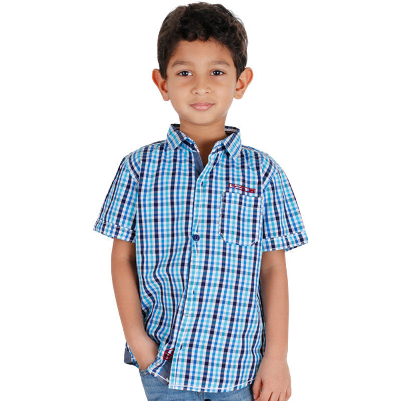 Biker Boys - Mini Blue'N White Checked Half Sleeve Shirts