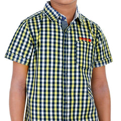 Biker Boys - Mini Yellow 'N Blue Checked Half Sleeve Shirts