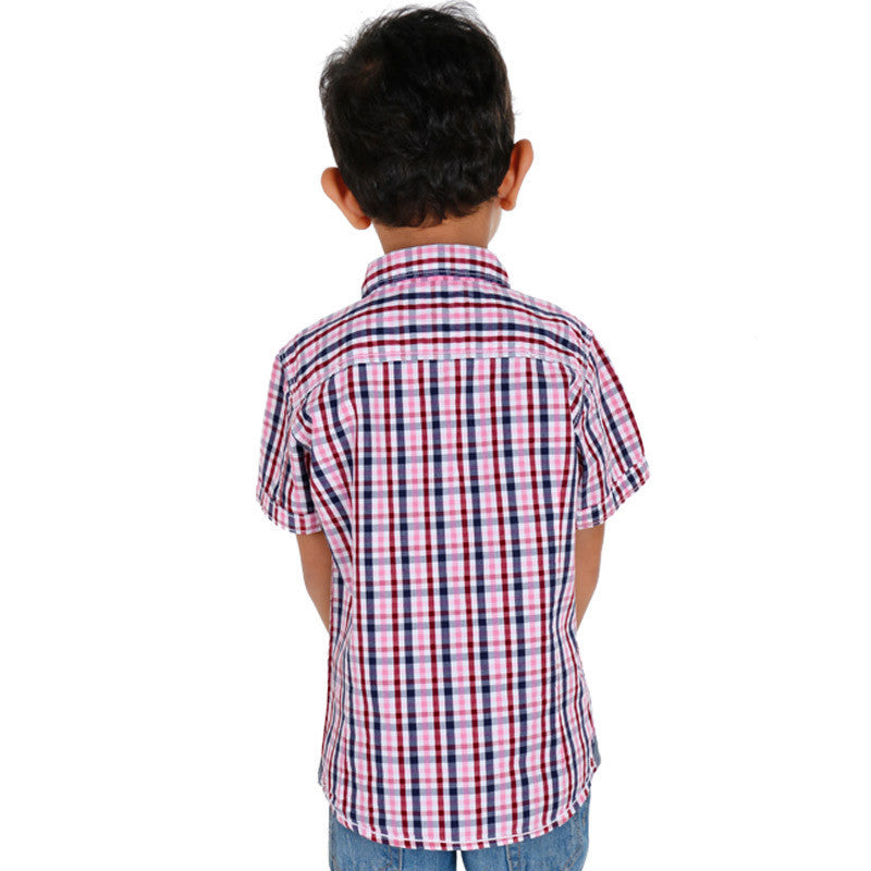 Biker Boys - Mini Pink 'N Blue Checked Half Sleeve Shirts