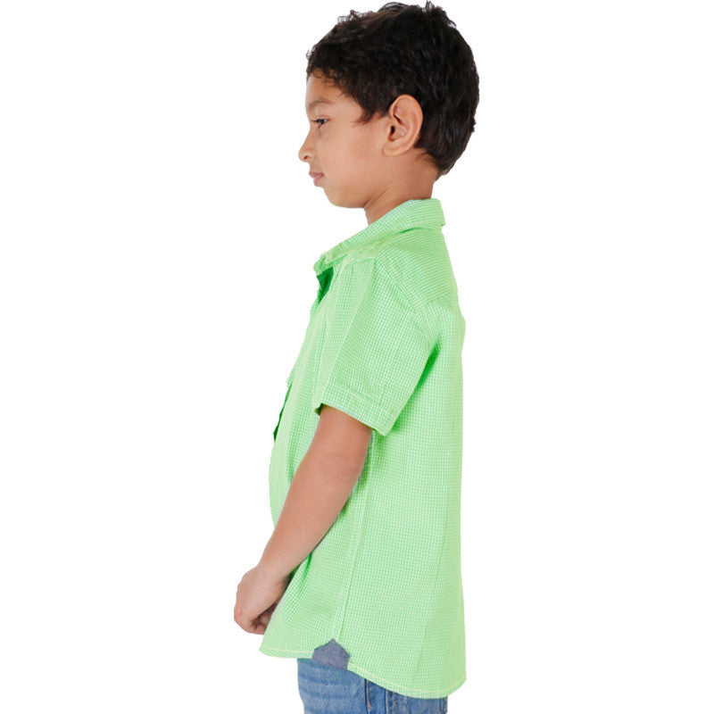 Biker Boys - Micro Mini Green Checked Half Sleeve Shirts