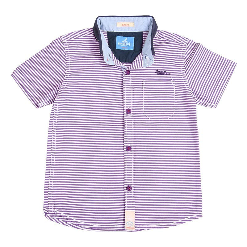 Einstein - Purple With White Stripped Cotton Half Sleeve Shirts