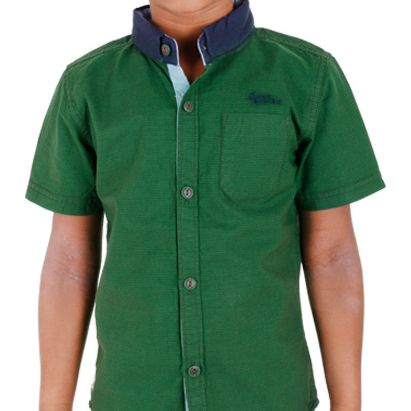 Einstein - Green Slim Blue Stripped Cotton Half Sleeve Shirts