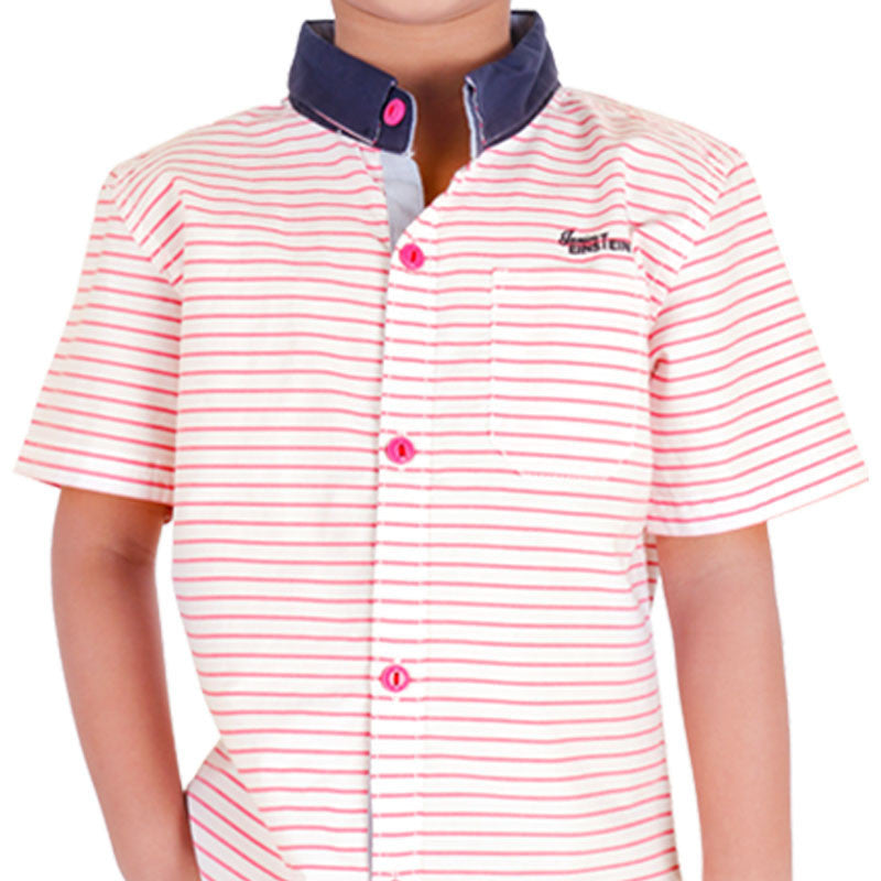 Einstein - Pink Stripped Cotton Half Sleeve Shirts