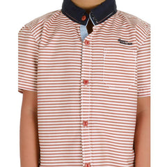 Einstein - Brown Stripped Cotton Half Sleeve Shirts
