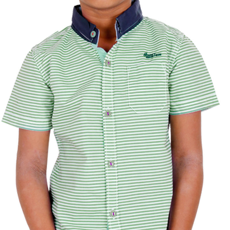Einstein - Green Stripped Cotton Half Sleeve Shirts