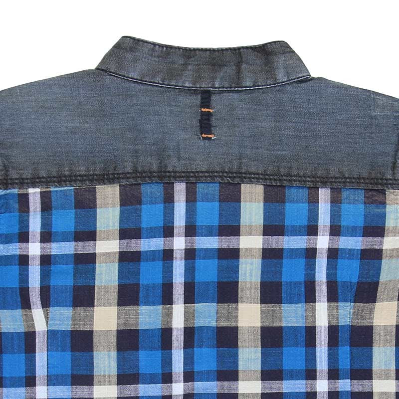 Ice Boys - Small Checked Blue with Yellow Cotton Half Sleeve Chinese Collar Shirts
