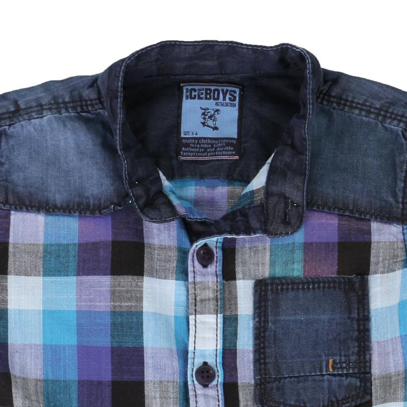 Ice Boys - Checked Shades Of Blue Cotton Half Sleeve Chinese Collar Shirts