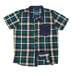 Ice Boys - Checked Dark Green With Blue Cotton Half Sleeve Chinese Collar Shirts