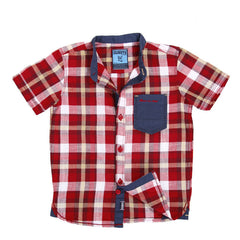 Ice Boys - Checked Deep Red Cotton Half Sleeve Chinese Collar Shirts