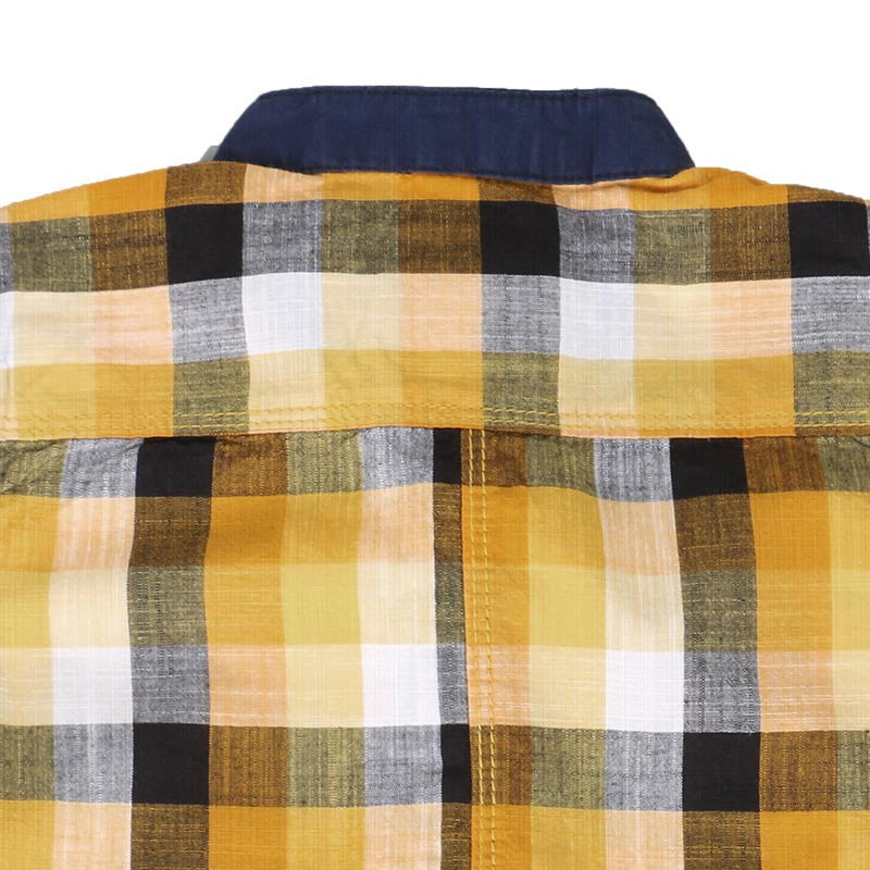 Ice Boys - Checked Yellow With Black Cotton Half Sleeve Chinese Collar Shirts