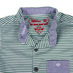 Einstein - Dark Green Stripped Cotton Half Sleeve Shirts With Chinese Collar