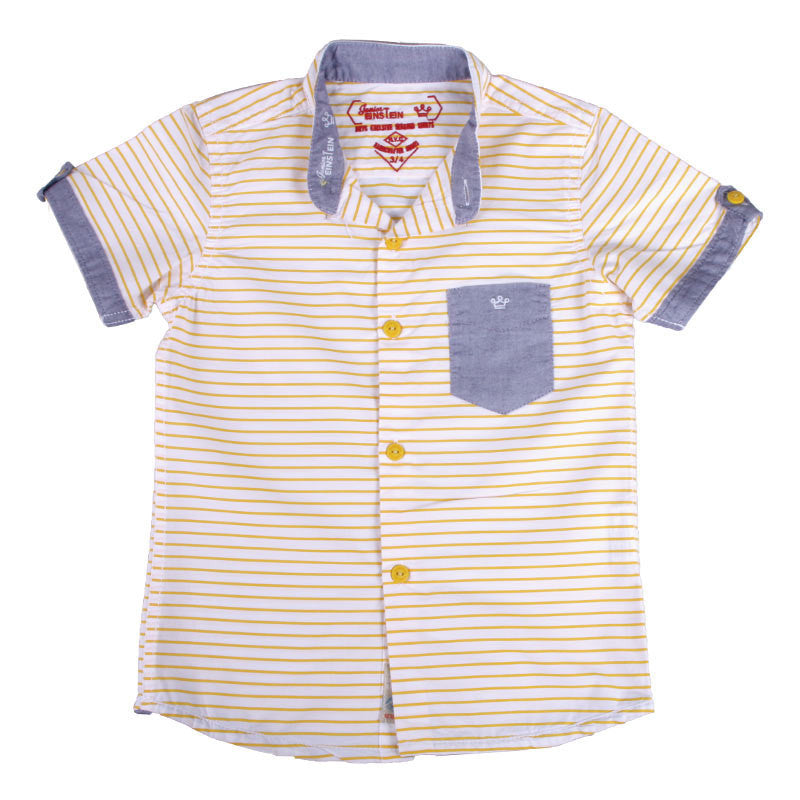 Einstein - Yellow Stripped Cotton Half Sleeve Shirts With Chinese Collar