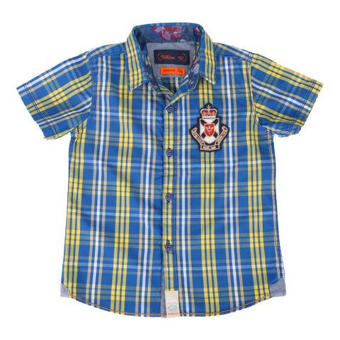 Einstein - Blue And Yellow Checked Cotton Half Sleeve Shirts
