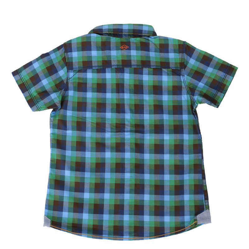 Einstein - Blue And Green Mini Checked Cotton Half Sleeve Shirts