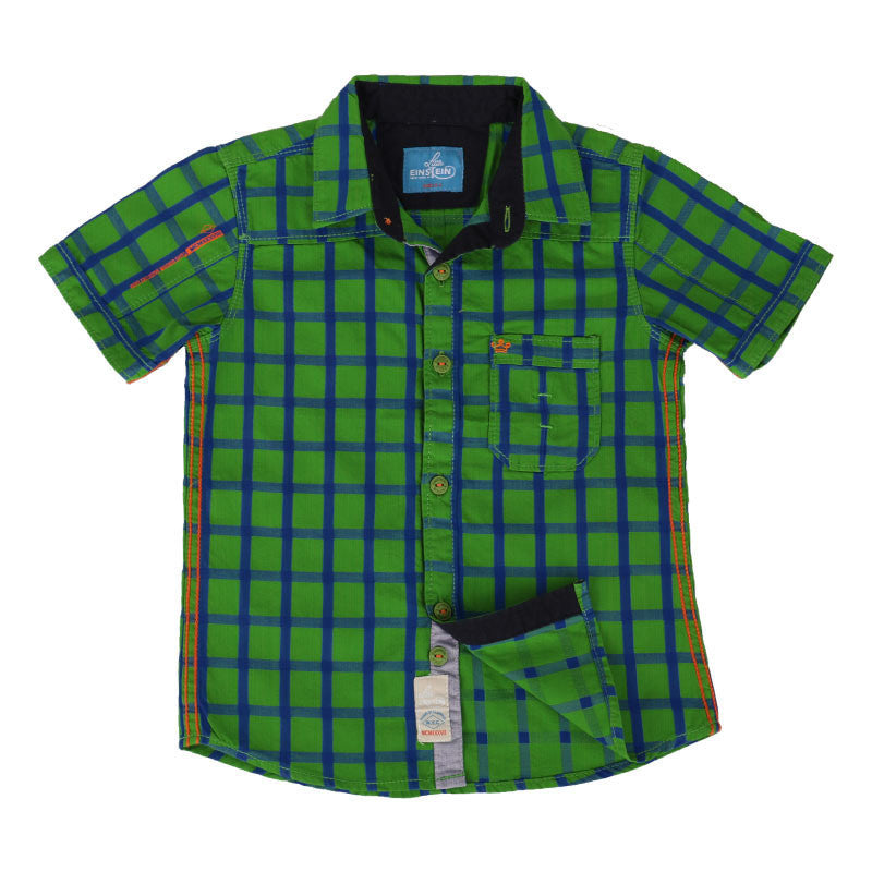 Einstein - Vibrant Green Checked Cotton Half Sleeve Shirts