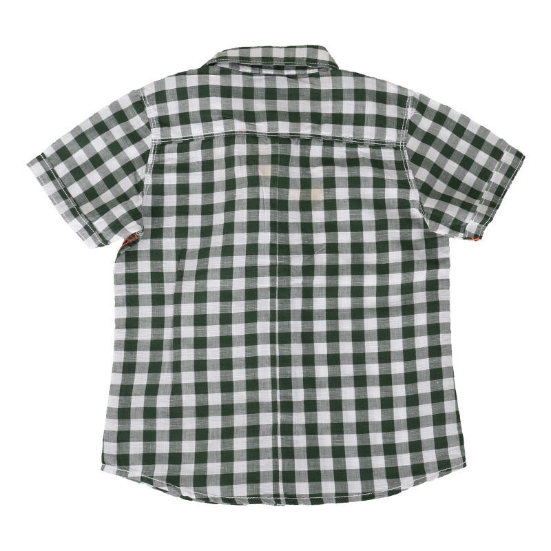 Einstein - Dark Green Checked Cotton Half Sleeve Shirts