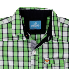 Einstein - Mild Green Checked Cotton Half Sleeve Shirts