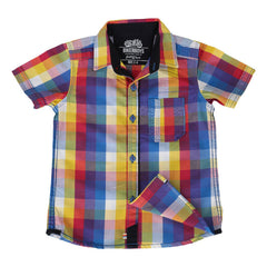 Biker Boys - Yellow Splash Multi Color Checked Cotton Half Sleeve Shirts
