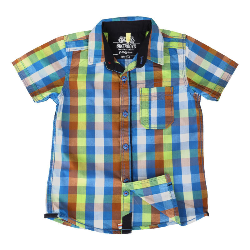 Biker Boys - Blue Base Multi Color Checked Cotton Half Sleeve Shirts