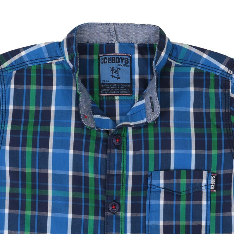 Ice Boys - Trendy Checked Blue With Green Cotton Half Sleeve Chinese Collar Shirts