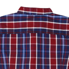Ice Boys - Trendy Checked Red With Blue Cotton Half Sleeve Chinese Collar Shirts