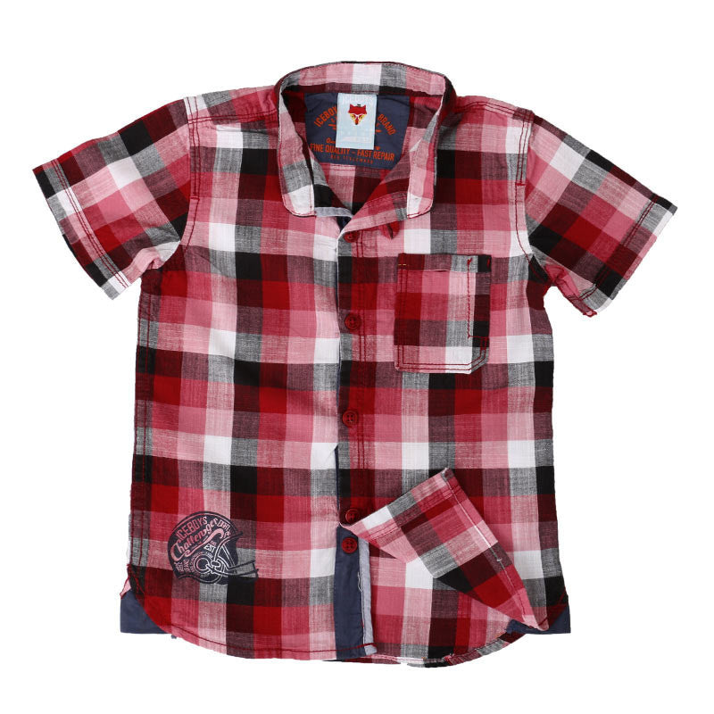 Ice Boys - Trendy Checked Red, White And Black Cotton Half Sleeve Chinese Collar Shirts