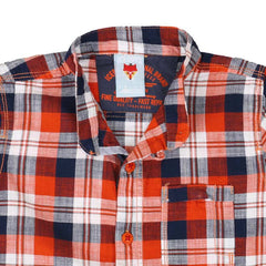 Ice Boys - Trendy Checked Orange With Blue Cotton Half Sleeve Chinese Collar Shirts