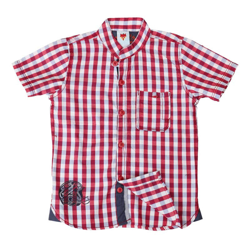 Ice Boys - Trendy Small Checked Red and White Cotton Half Sleeve Chinese Collar Shirts