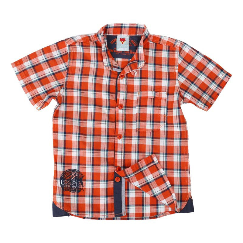 Ice Boys - Trendy Checked Orange Cotton Half Sleeve Chinese Collar Shirts
