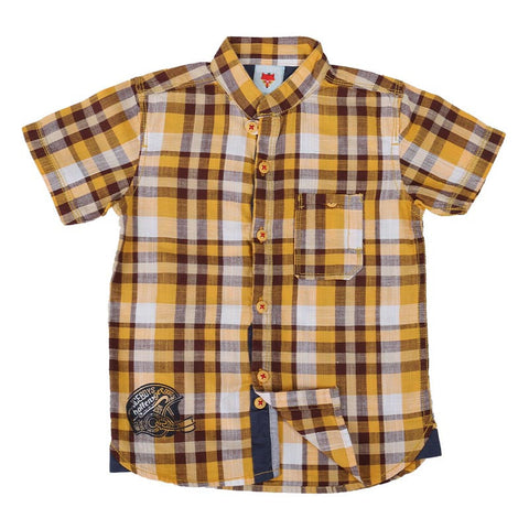 Ice Boys - Trendy Checked Yellow Cotton Half Sleeve Chinese Collar Shirts