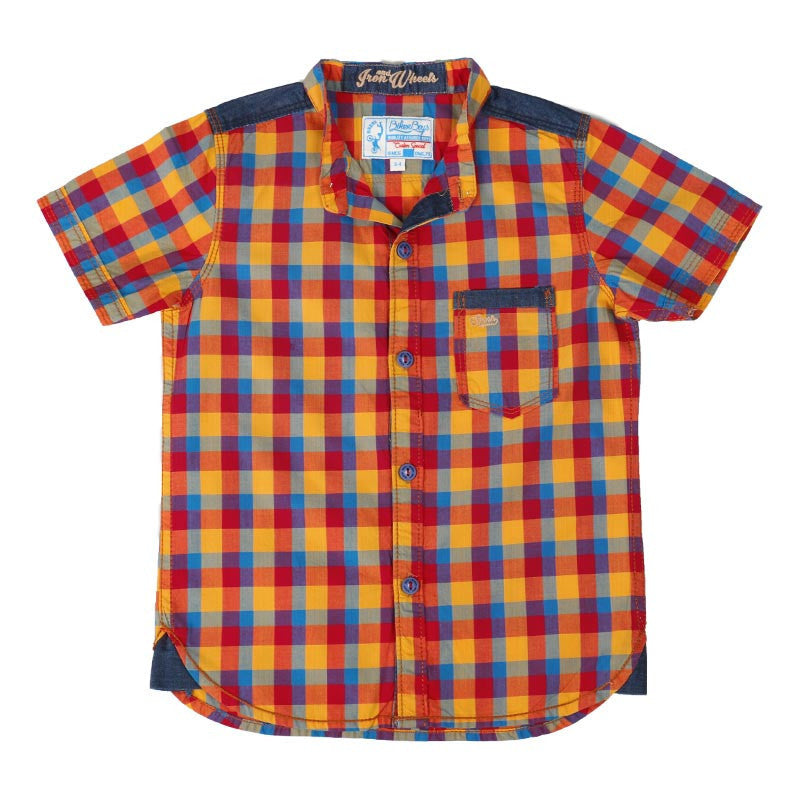Biker Boys - Yellow Based Multicolour Checked Cotton Half Sleeve Shirts