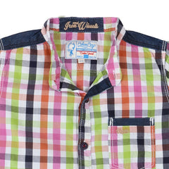 Biker Boys - White Based Multicolour Mini Checked Cotton Half Sleeve Shirts