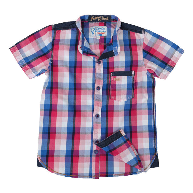 Biker Boys - Pink Based Multicolour Checked Cotton Half Sleeve Shirts