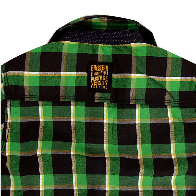 Einstein - Green And Black Box Checked Cotton Half Sleeve Shirts