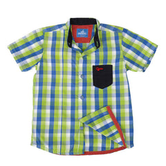 Einstein - Lime Green And Blue Checked Chinese Collared Cotton Half Sleeve Shirts