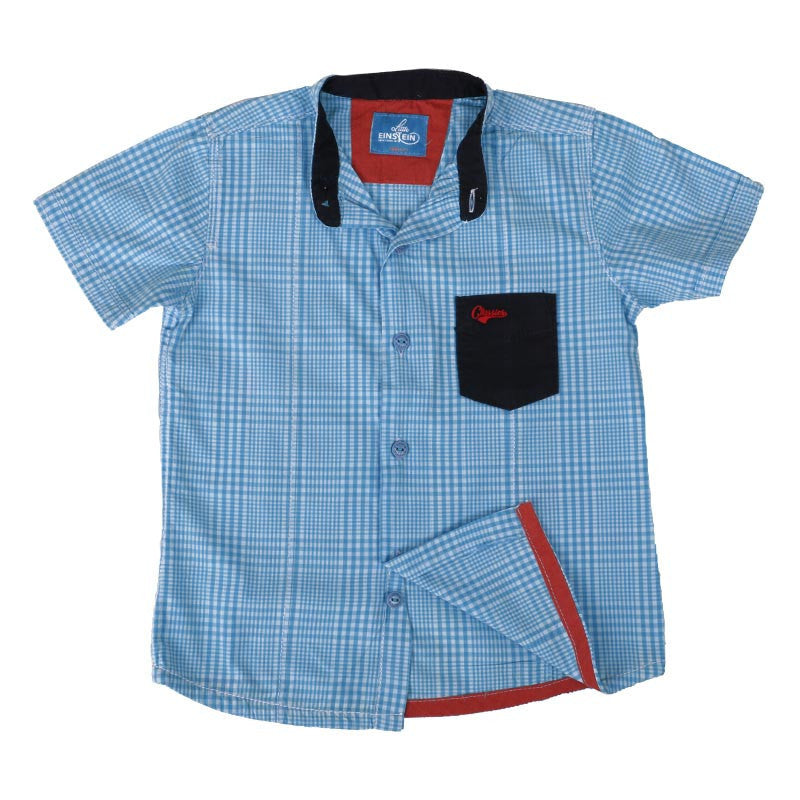 Einstein - Micro Checked Mild Blue Chinese Collared Cotton Half Sleeve Shirts