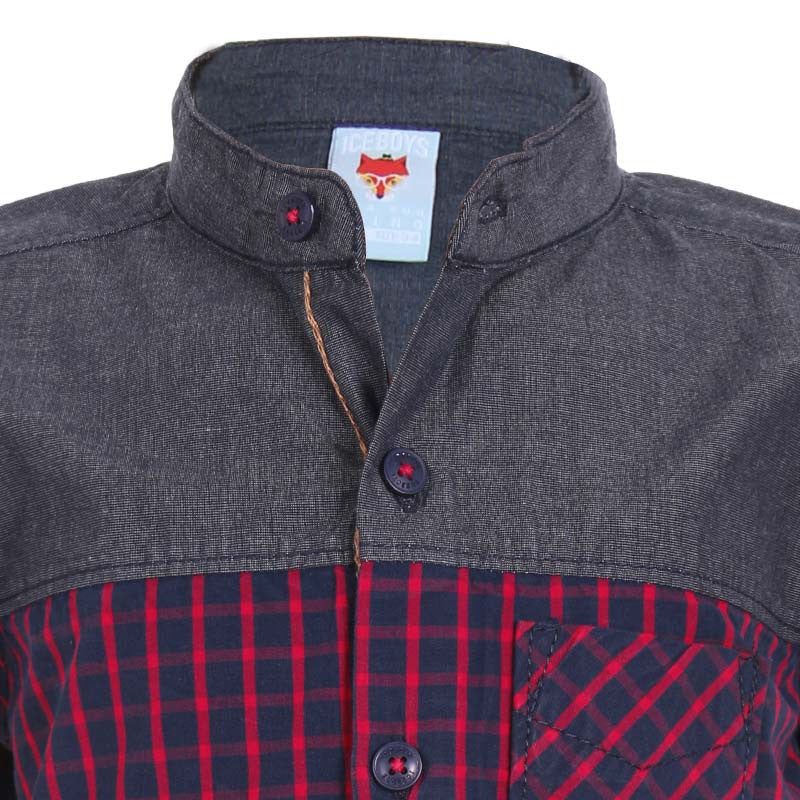 Ice Boys - Trendy Checked Red and Grey Cotton Half Sleeve Chinese Collar Shirts