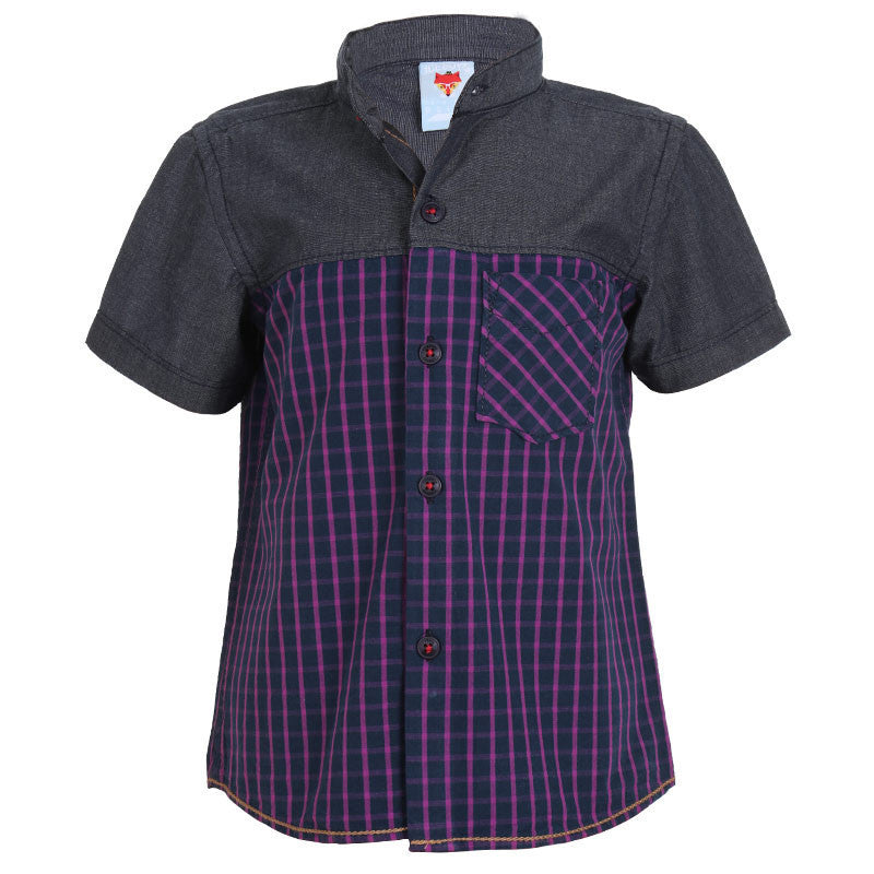 Ice Boys - Trendy Checked Purple and Grey Cotton Half Sleeve Chinese Collar Shirts