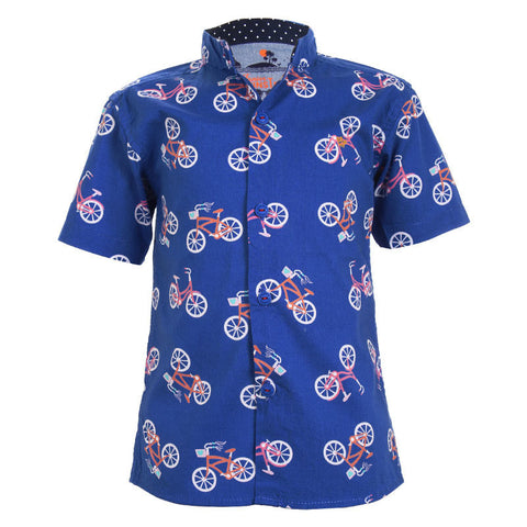 Einstein - Cycle Printed Blue Chinese Collared Cotton Half Sleeve Shirts