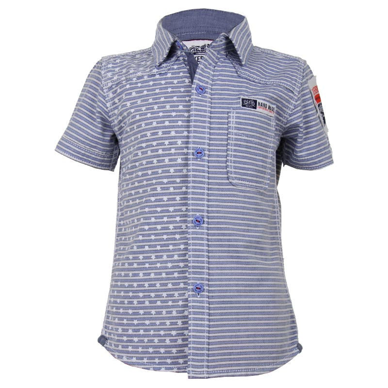 Biker Boys - Star And Line Printed Light Blue Cotton Half Sleeve Shirts