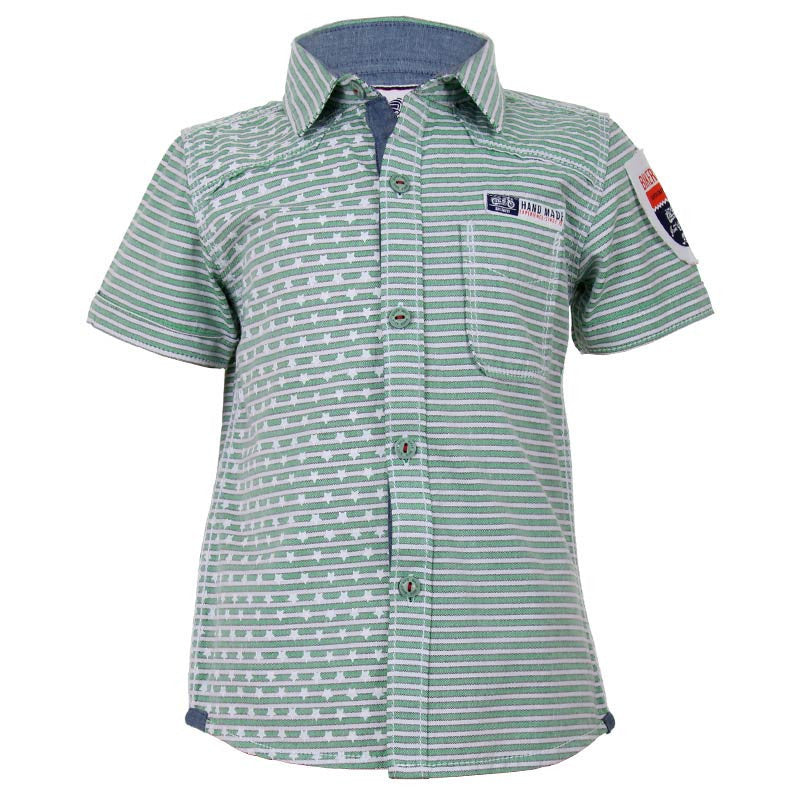 Biker Boys - Star And Line Printed Green Cotton Half Sleeve Shirts