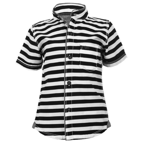 Biker Boys - Striped Black Cotton Chinese Collared Half Sleeve Shirts