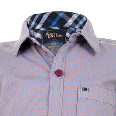 Einstein - Mild Red 'N Blue Striped Cotton Half Sleeve Shirts