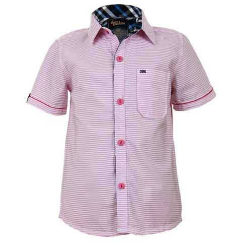 Einstein - Pink With White Striped Cotton Half Sleeve Shirts
