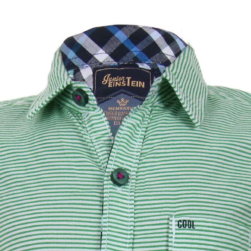 Einstein - Green 'N White Striped Cotton Half Sleeve Shirts