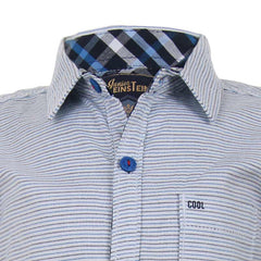Einstein - Blue 'N Black Striped Grains Cotton Half Sleeve Shirts